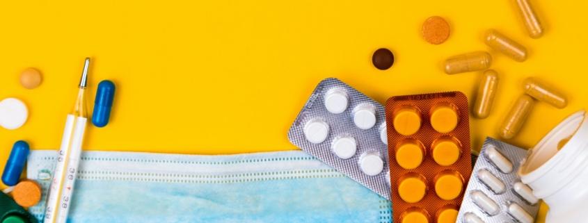 Medicamentos, máscara e vacina covid-19